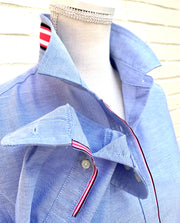 Casie Stripe - Blue Oxford w Pink Navy Ribbon (Casie 01)