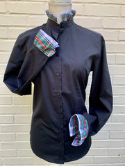 Black Long Sleeve Plaid Ribbon Shirt - (HR 05)