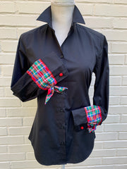 French Cuff Black w Plaid Ribbon Ties (HFC-Black)