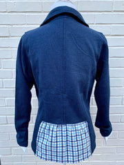 Navy Sweatshirt with Plaid Giddy Up