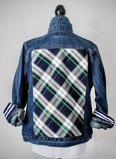 Denim Jacket w Green Plaid (White Green DJ 03)