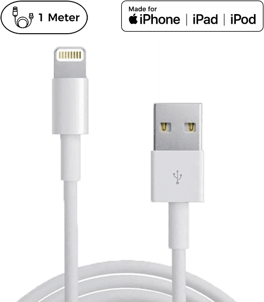 Image of Originalt Apple MFi lightning kabel. 5 års garanti! - 1 Meter
