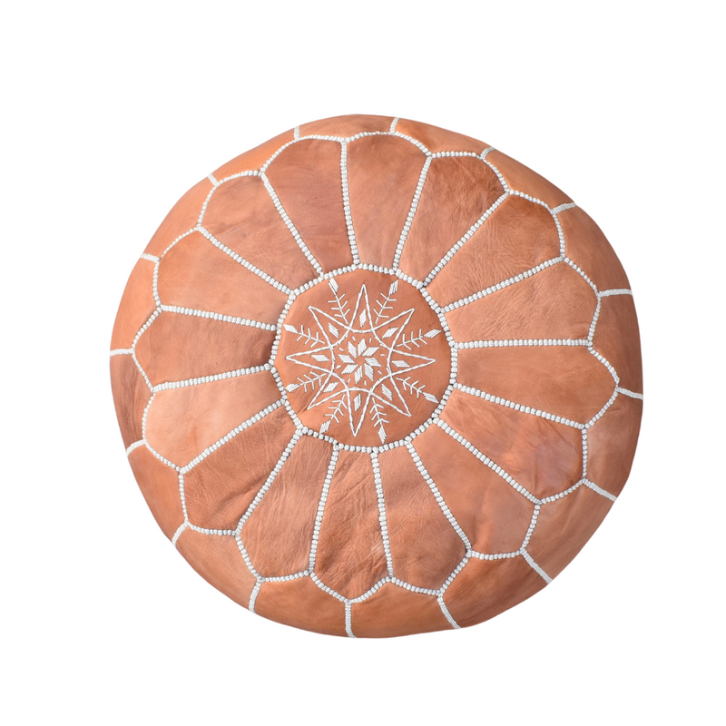 Moroccan Leather Pouf-Brown