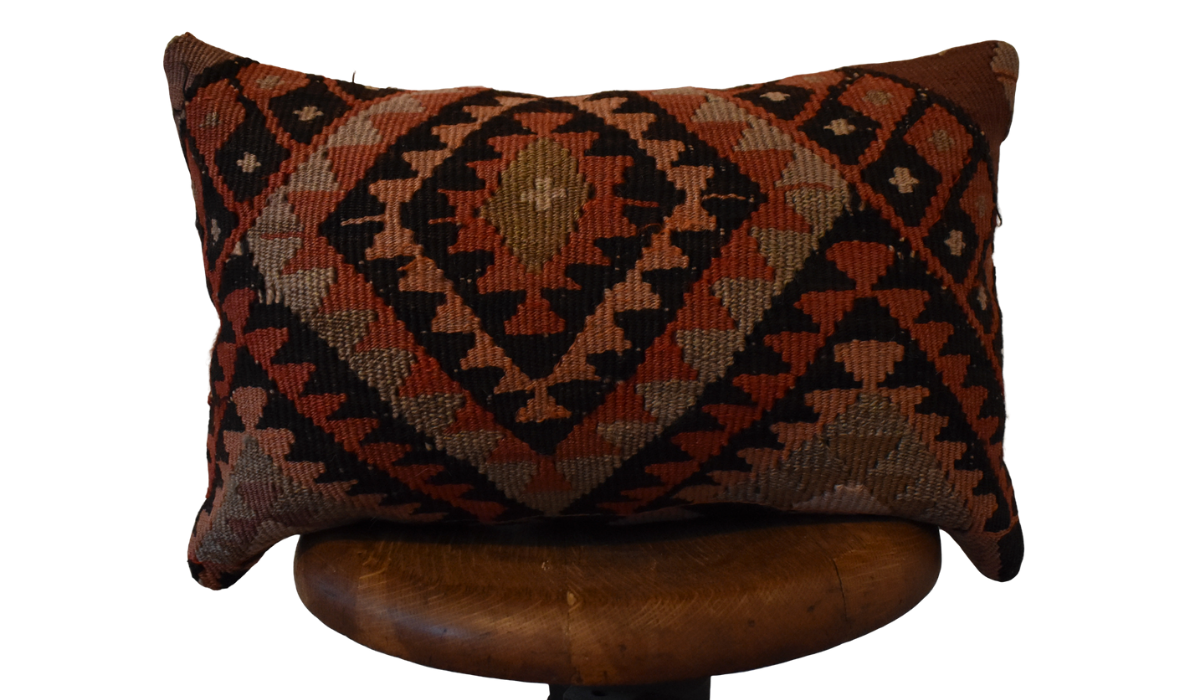 Turkish Kilim Lumbar Pillow-12x21""