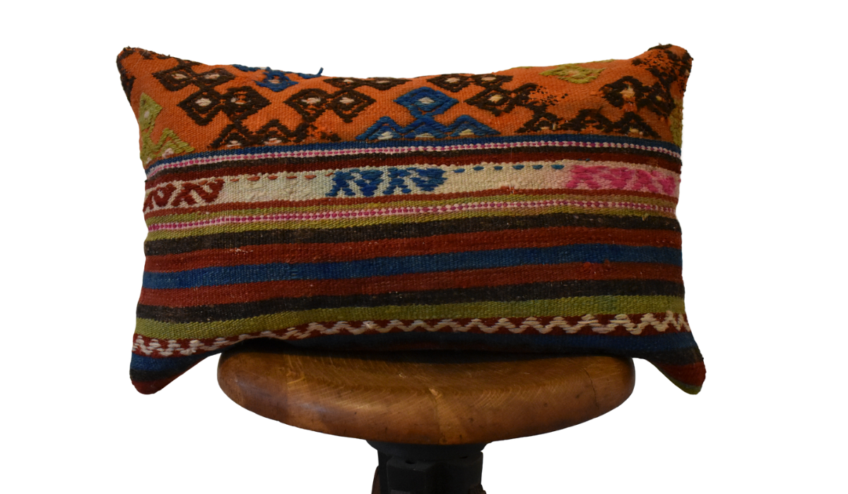 "Turkish Kilim Lumbar Pillow-12x21""-Family U"