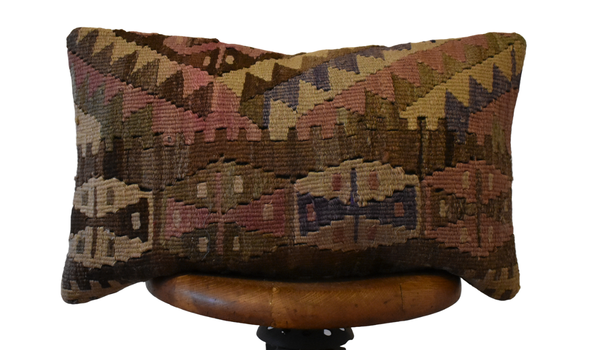 "Turkish Kilim Lumbar Pillow-13x22""-Family V"