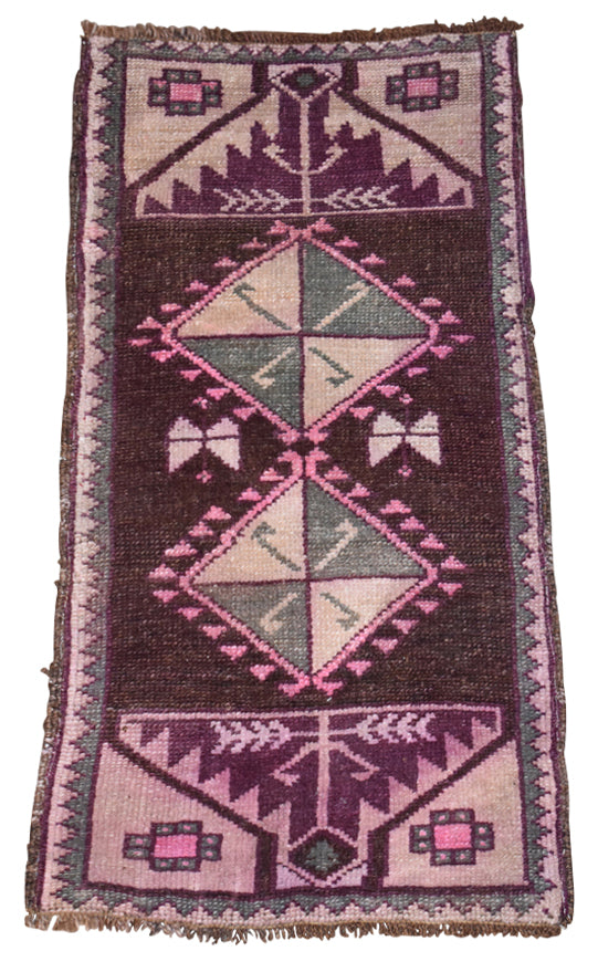 "Vintage Turkish Baby Rug-#7-1'8""x3'3"""