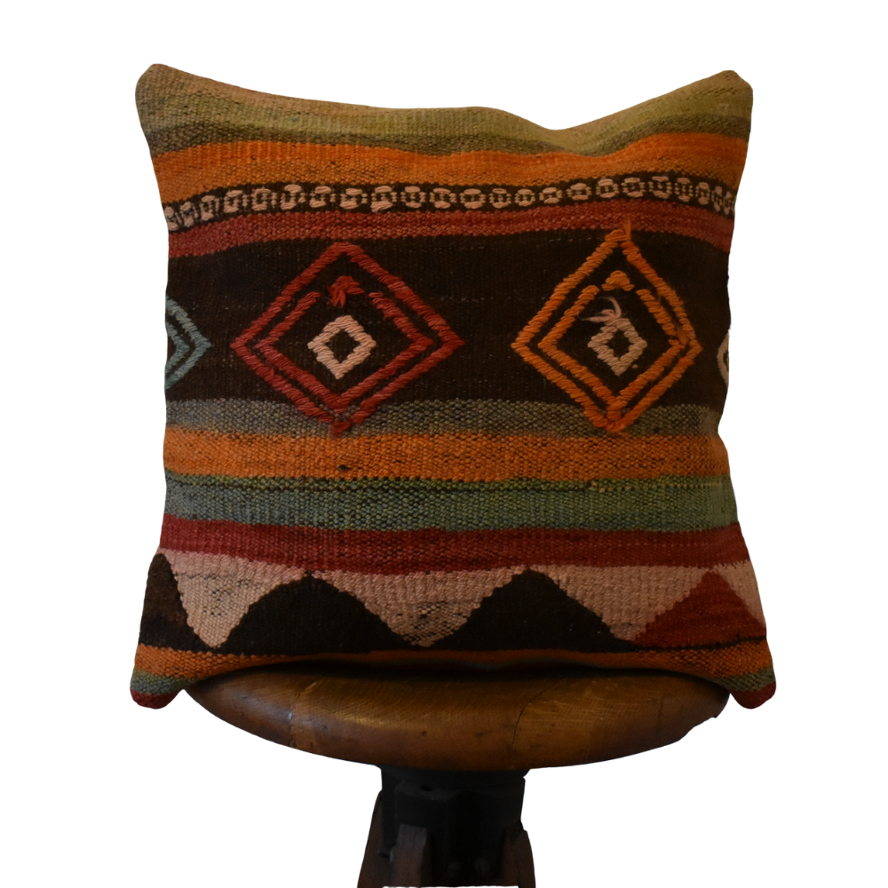 "Turkish Kilim Pillow 16x16"" #20"