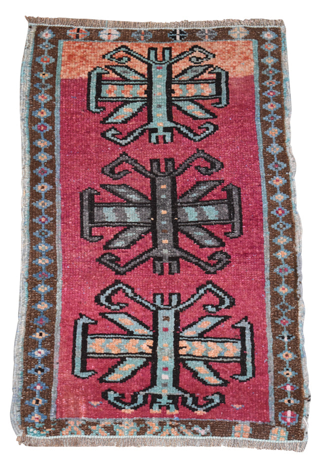 "Vintage Turkish Baby Rug-#14-1'8""x2'8"""