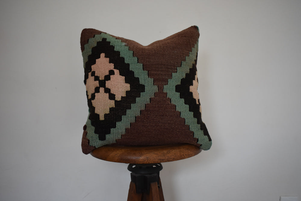 "Turkish Kilim Pillow 16x16"" A"