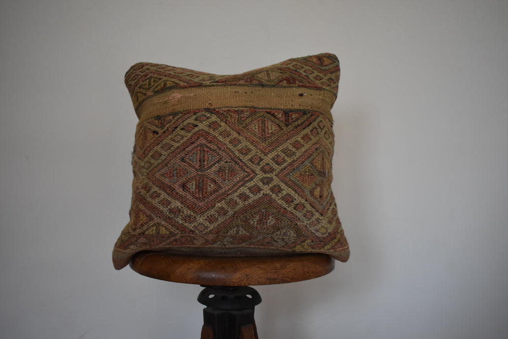 "Turkish Kilim Pillow 16x16"" E"