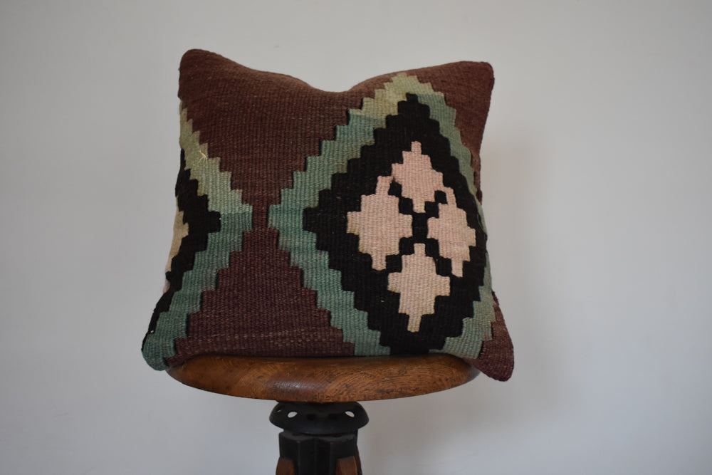 "Turkish Kilim Pillow 16x16"" B"