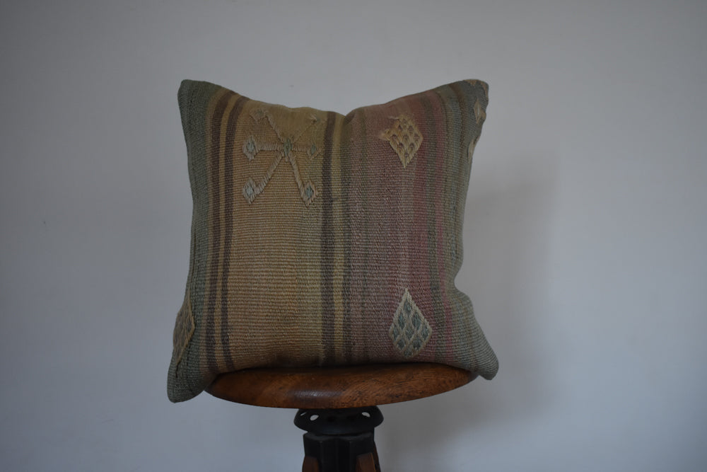 "Turkish Kilim Pillow 16x16"" H"