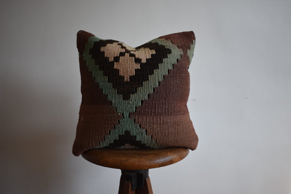 "Turkish Kilim Pillow 16x16"" J"