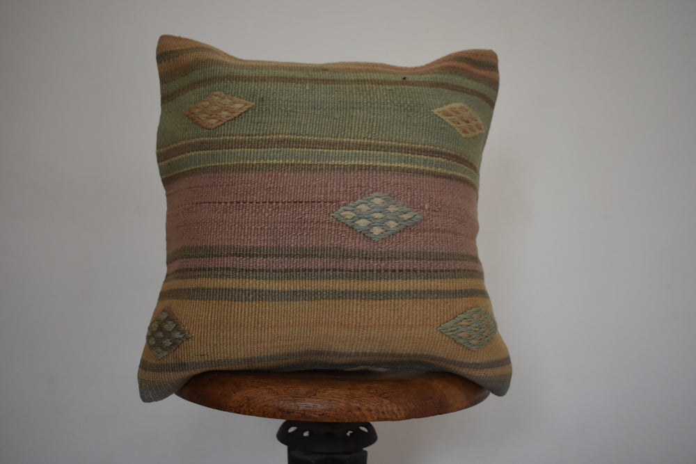 "Turkish Kilim Pillow 16x16"" N"