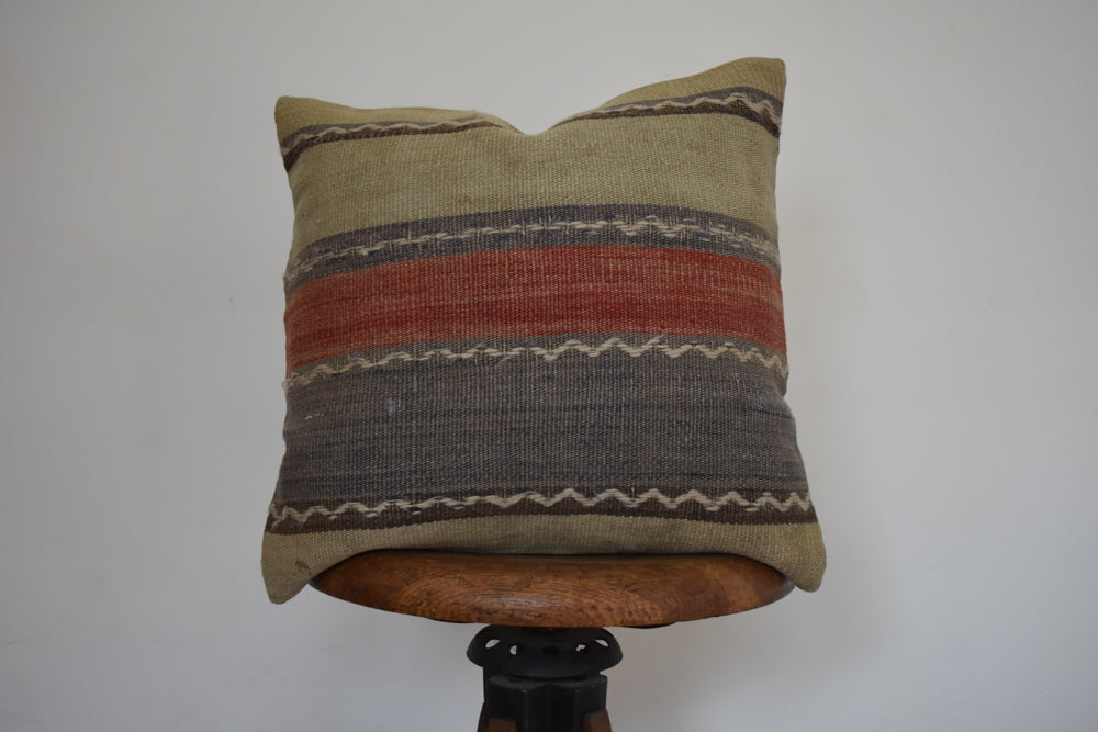 "Turkish Kilim Pillow 16x16"" S"