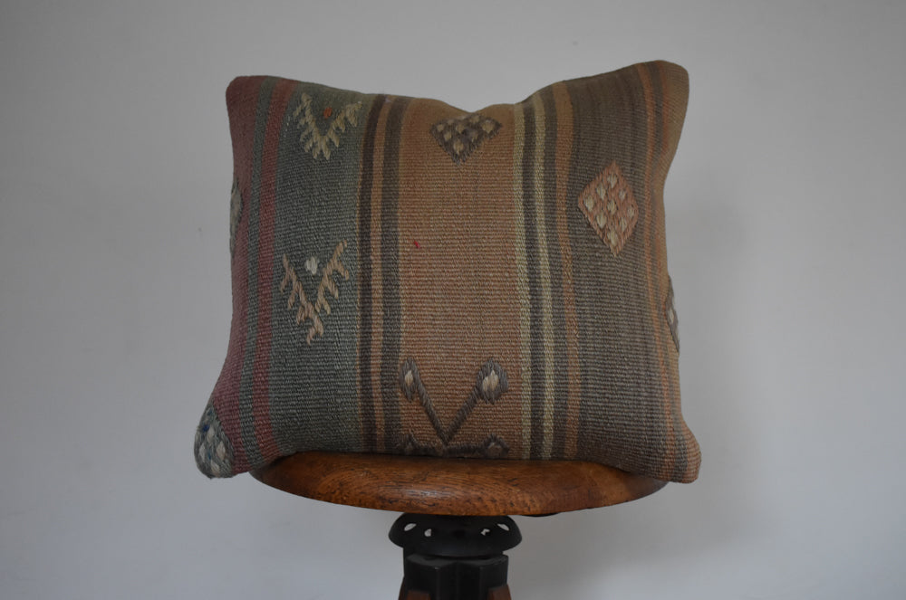 "Turkish Kilim Pillow 16x16"" V"
