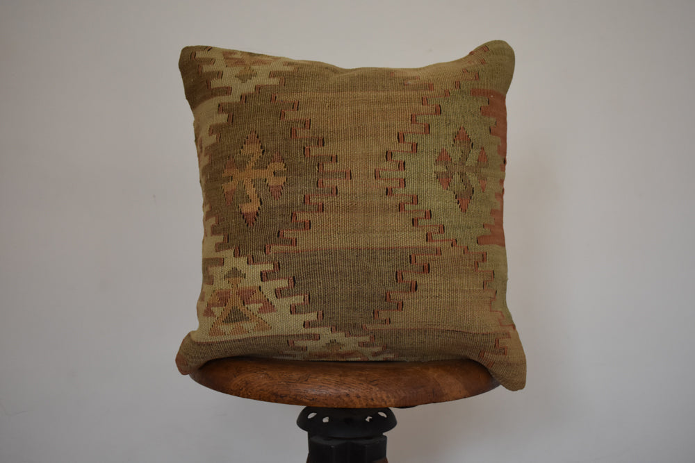 "Turkish Kilim Pillow 16x16"" AA"