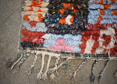 "Vintage Moroccan Boucherouite Rug-Lawrence-4'2""x5'7"""