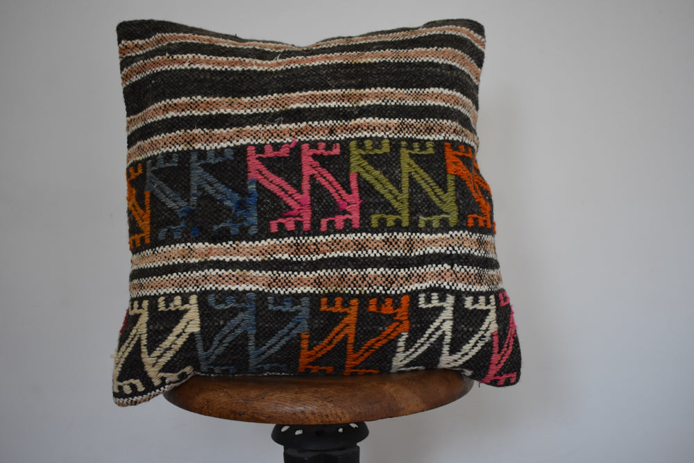 "Turkish Kilim Pillow 18x18"" B"