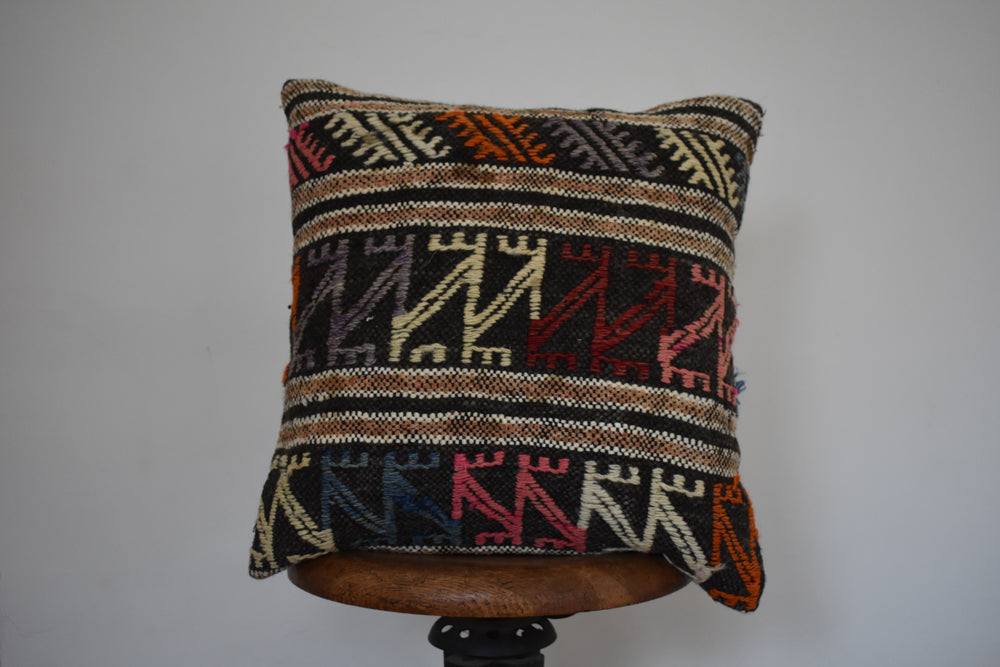 "Turkish Kilim Pillow 18x18"" C"