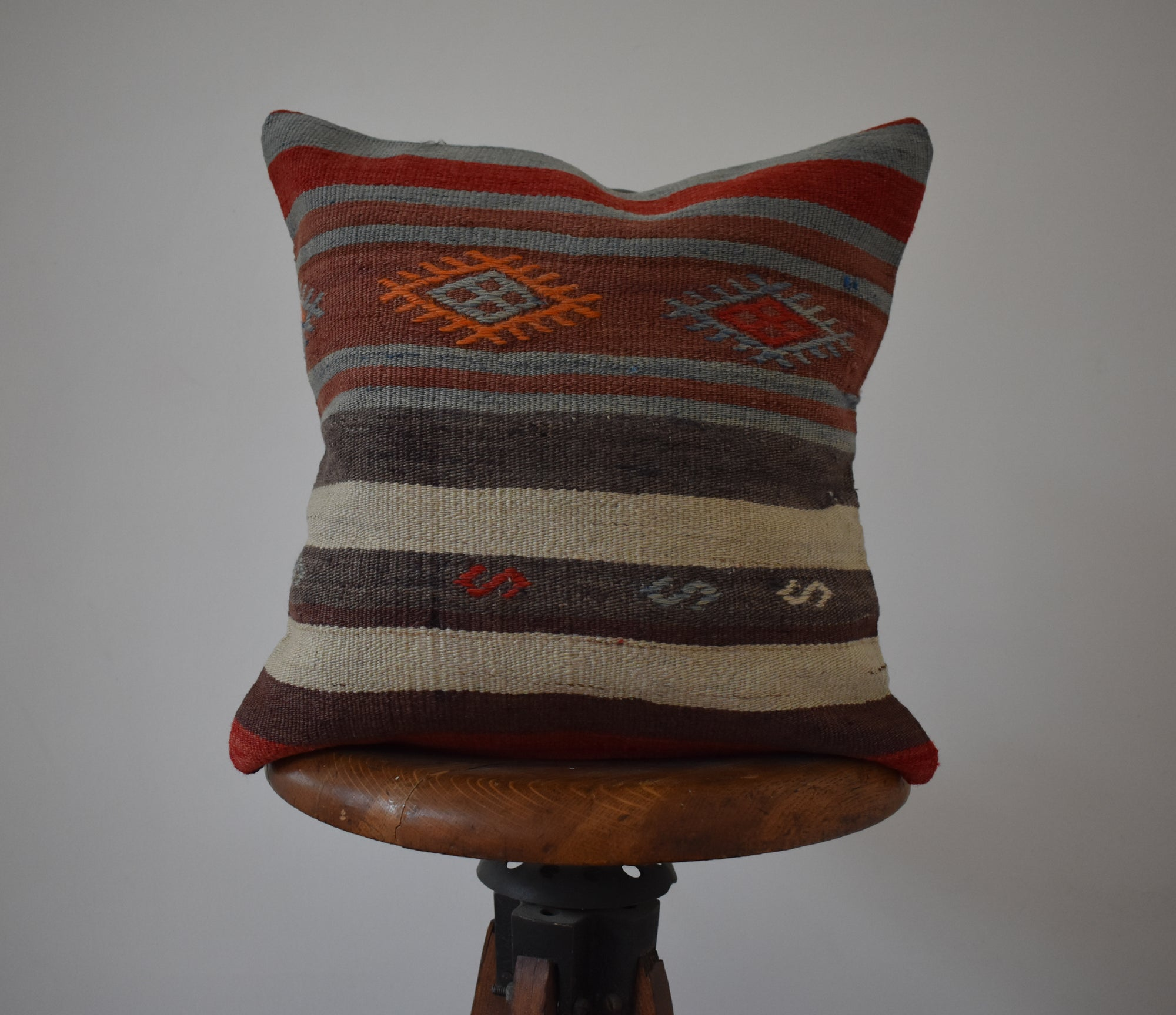 "Turkish Kilim Pillow 16x16"" #2 Family A"