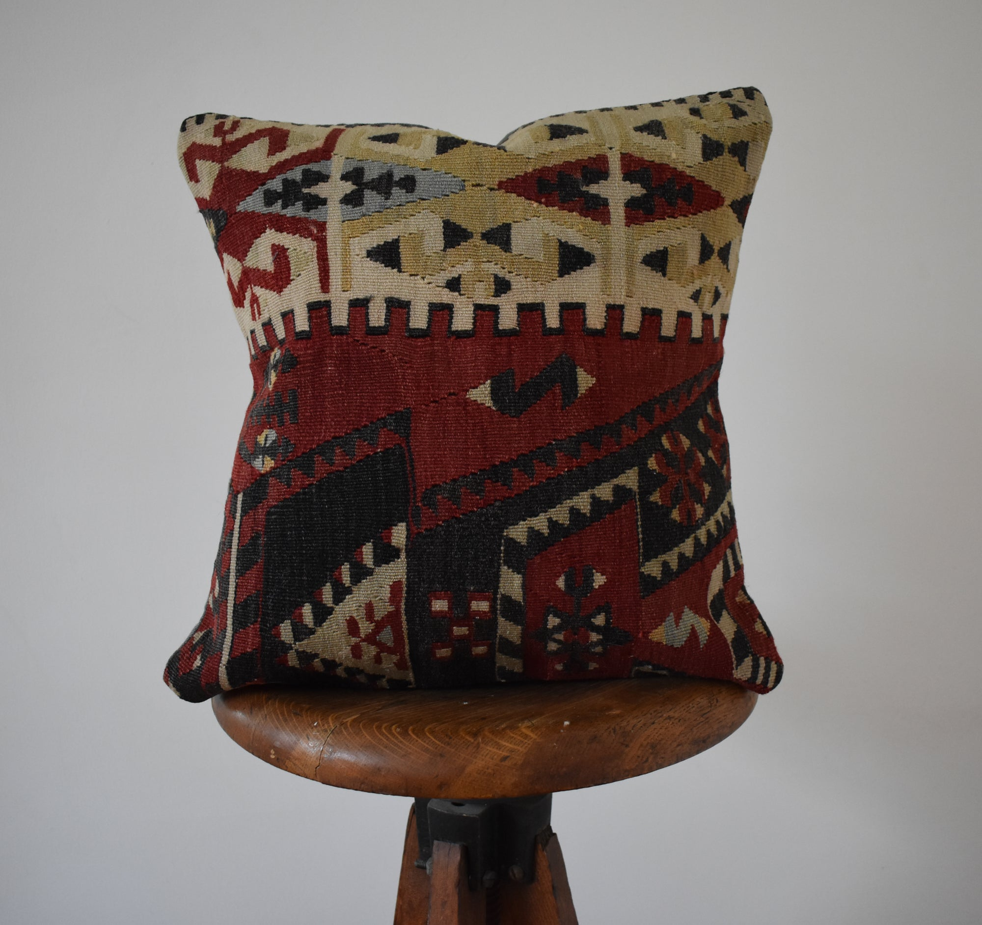 "Turkish Kilim Pillow 16x16"" #1 Family B"