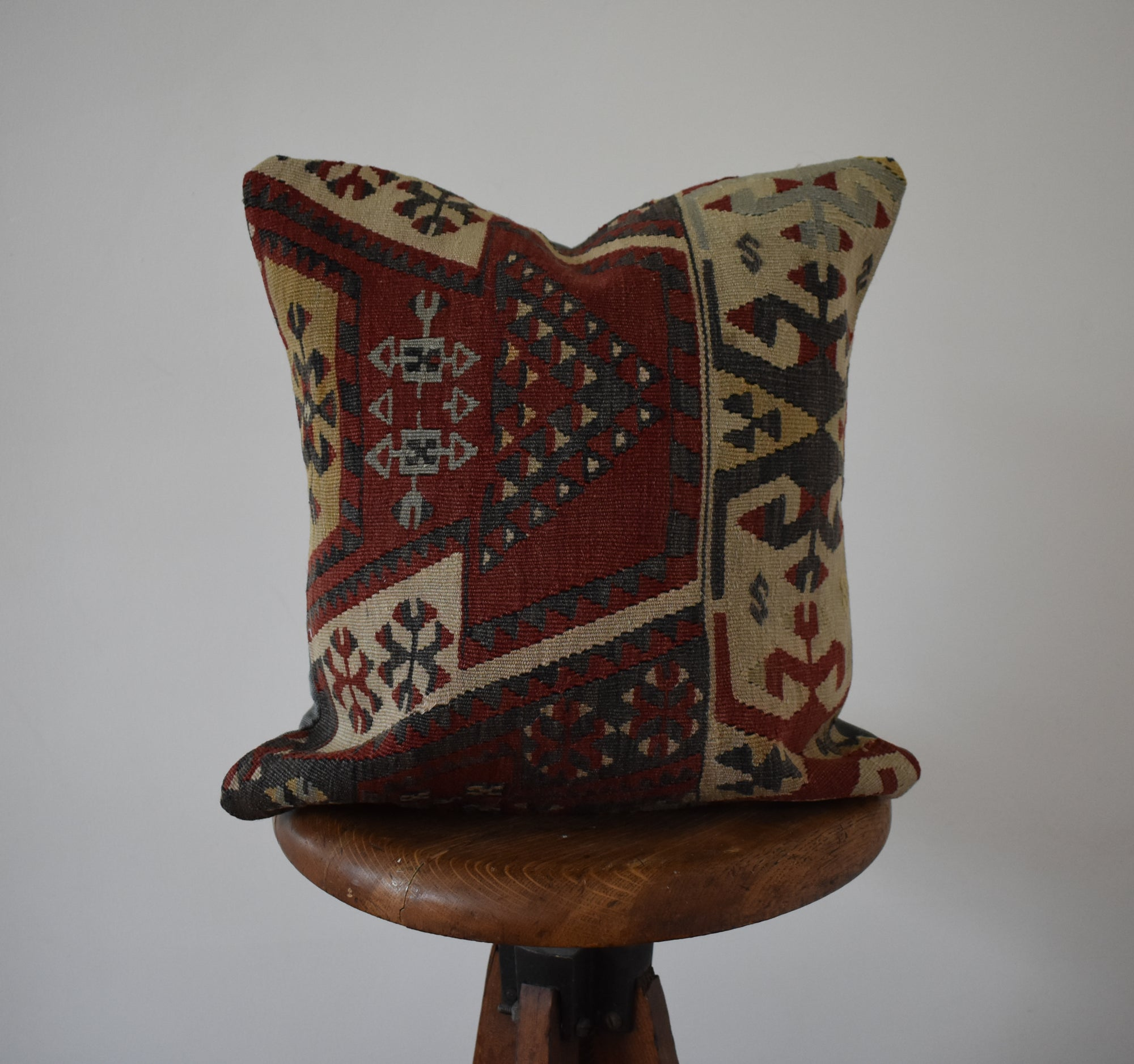 "Turkish Kilim Pillow 16x16"" #2 Family B"