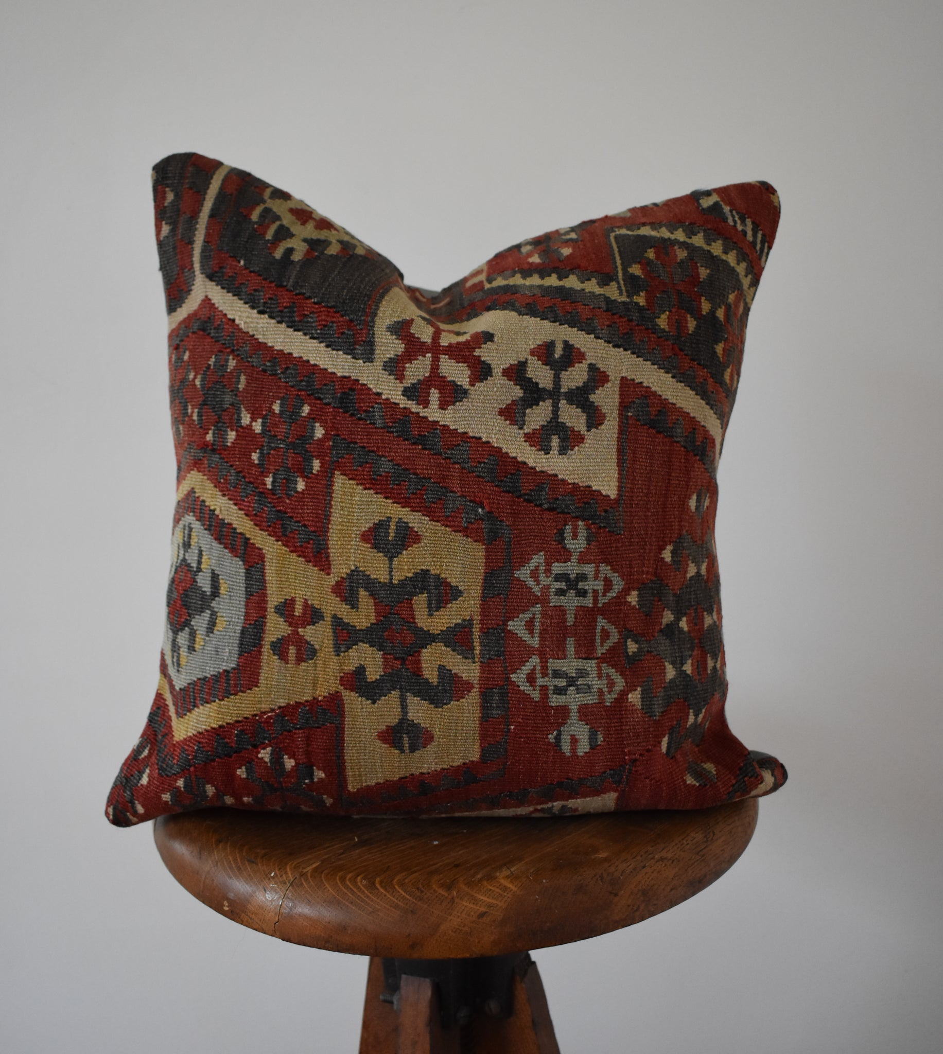 "Turkish Kilim Pillow 16x16"" #3 Family B"