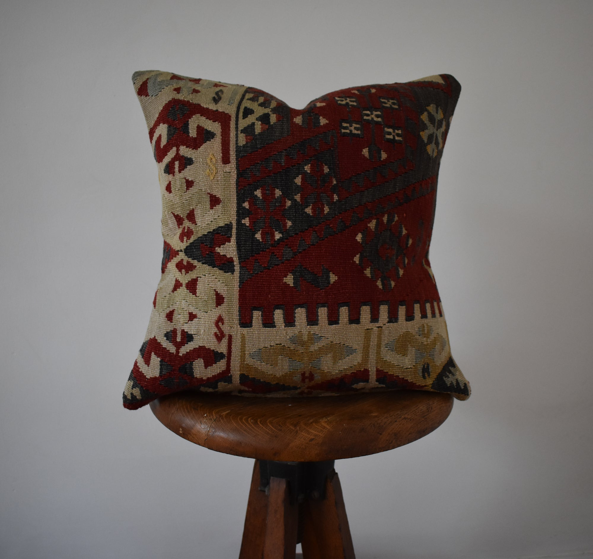 "Turkish Kilim Pillow 16x16"" #5 Family B"