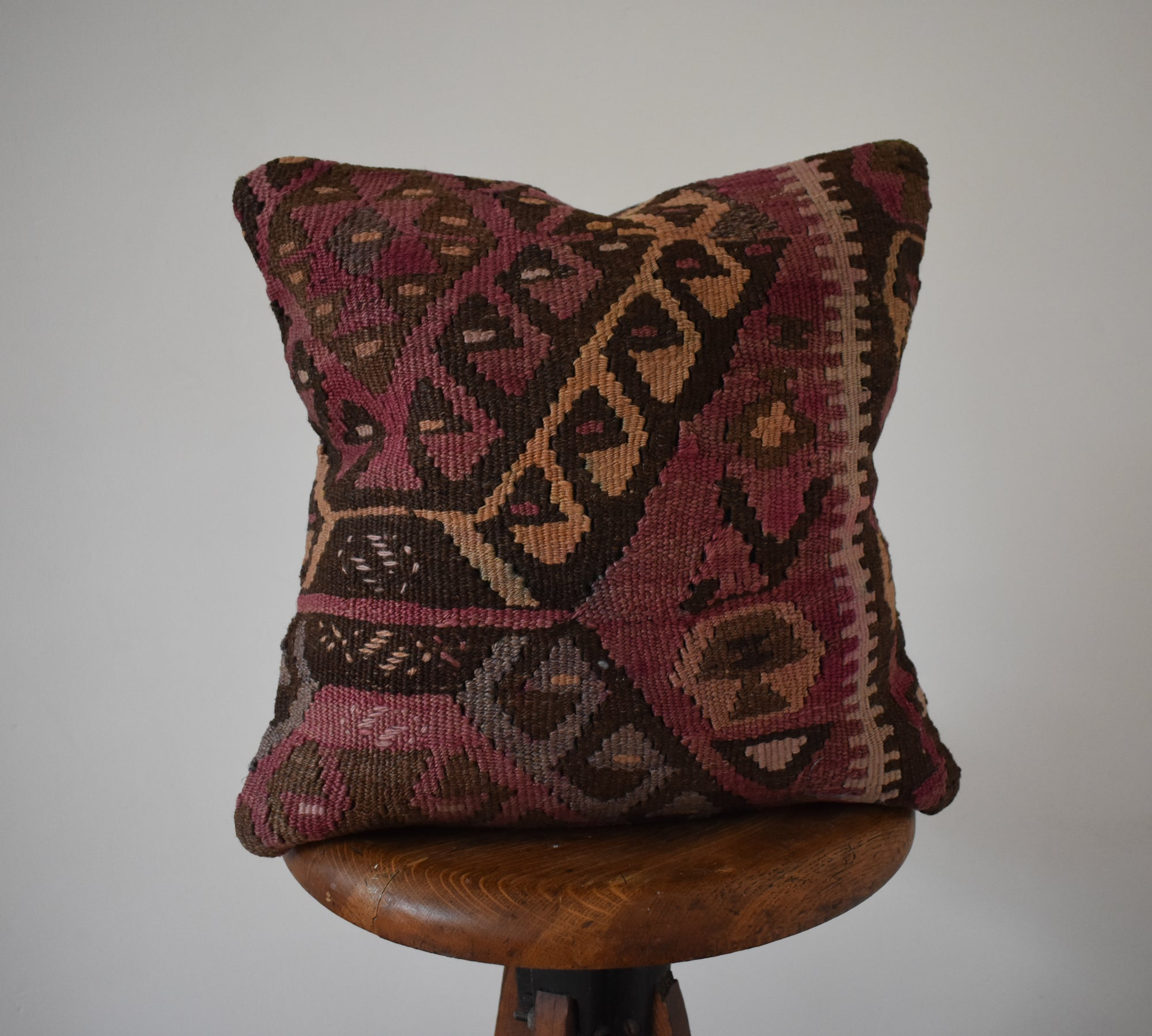 "Turkish Kilim Pillow 16x16"" #2 Family D"