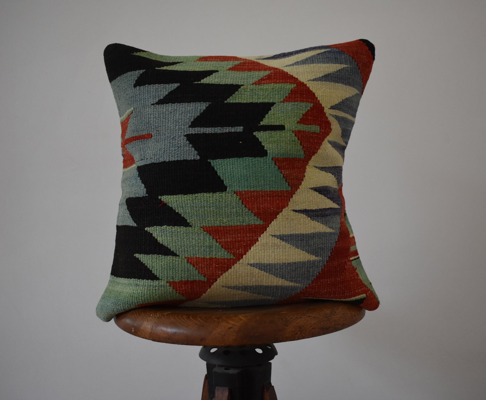 "Turkish Kilim Pillow 16x16"" #1 Family E"