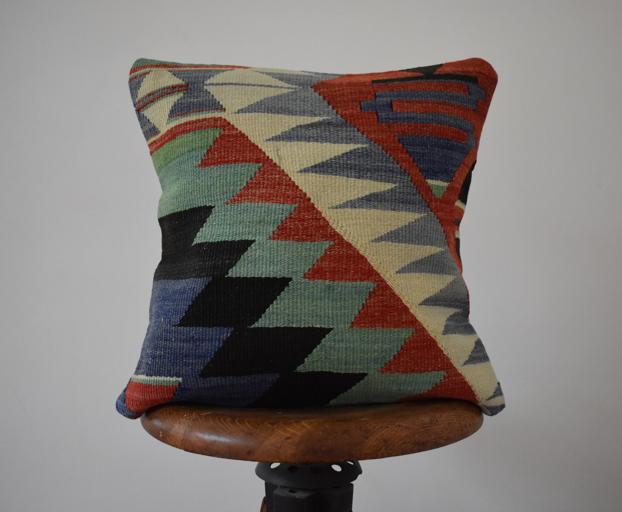 "Turkish Kilim Pillow 16x16"" #31"