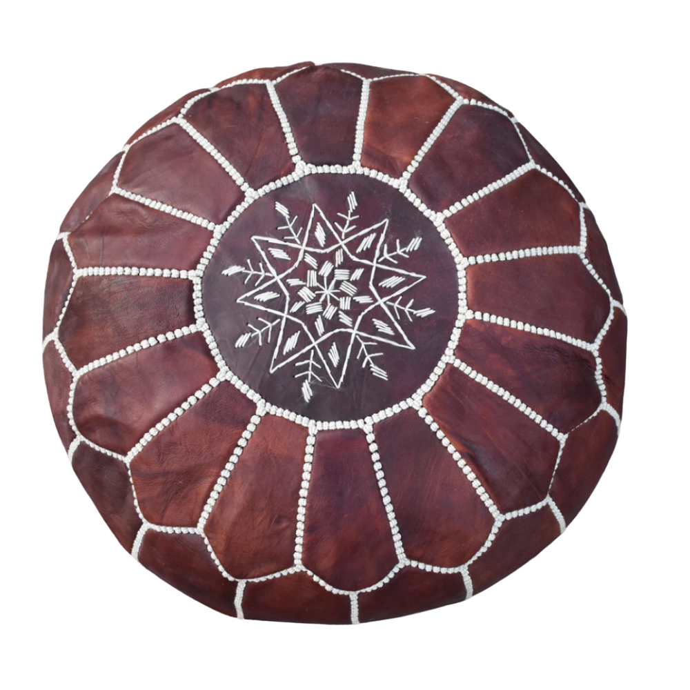 Moroccan Leather Pouf-Dark Brown