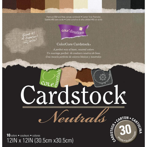 Essentials Cardstock Pad 12 X 12 Neutrals / Cartulina Colores Neutrales - Hobbees