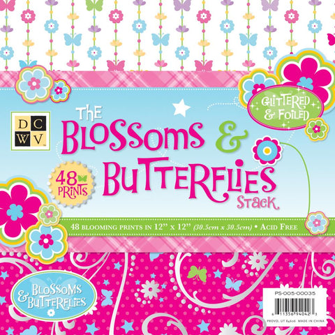 Blossoms & Butterflies Stack 12 x 12 / Block Papel Flores y Mariposas