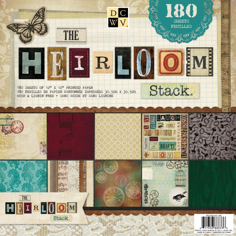 "The Heirloom Stack Papers 12"" x 12"" / Block de Papel Herencia 180 Hojas"