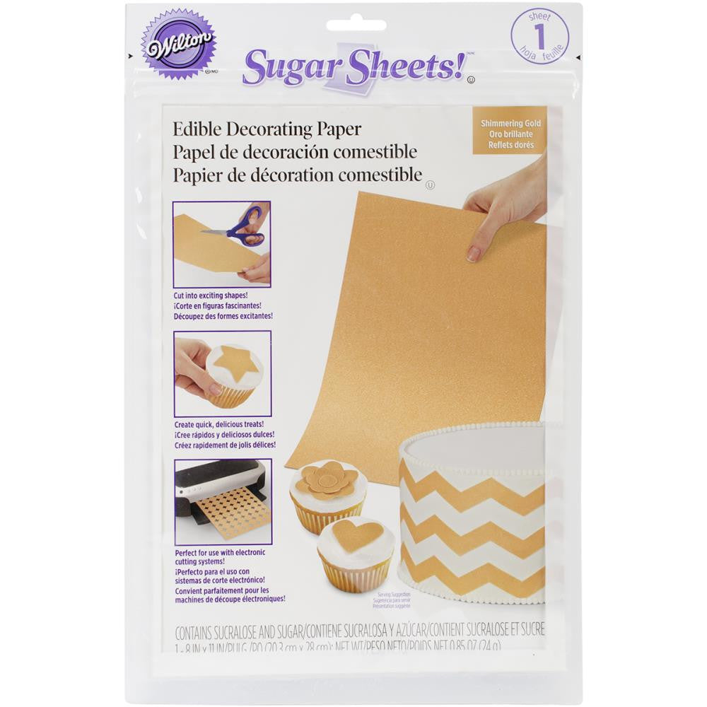Hoja de Papel Comestible Oro / Sugar Sheet Shimmering Gold - Hobbees - 1