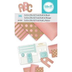 "Paper Pad 3""X5"" Kraft W Blush Foil / Block de Papel Metalizado"