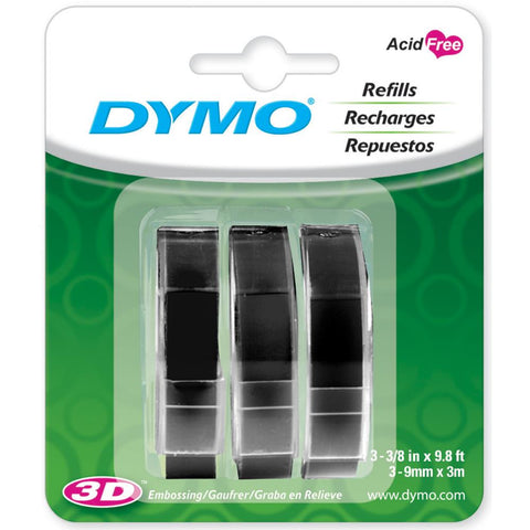 Black Caption Maker Tape Refill / Cintas de Repuesto Negras para Rotuladora de Frases