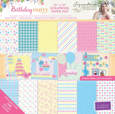"Birthday Party Paper Pad 12"" X 12"" / Block de Papel Cumpleaños"