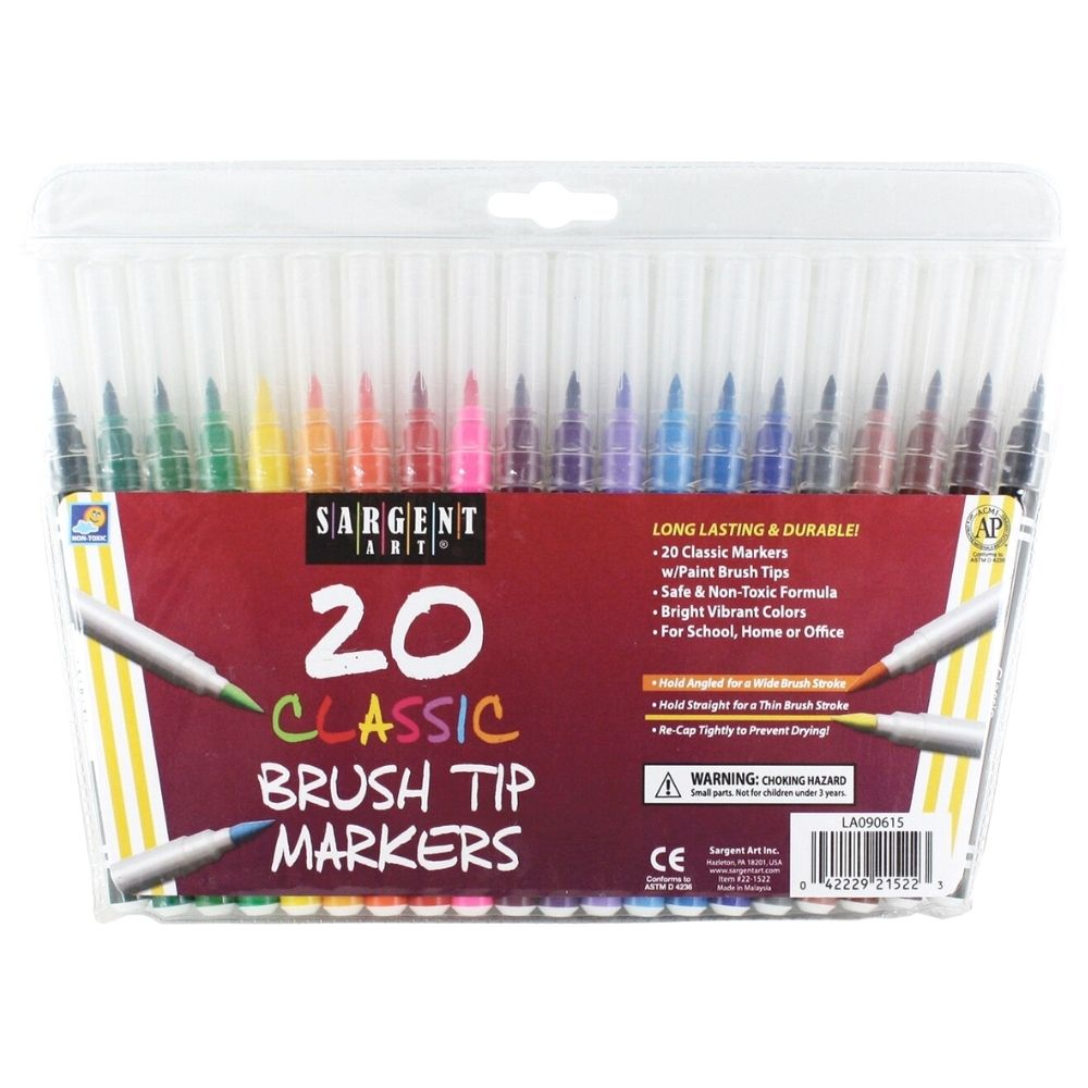 20 Classic Brush Tips Markers / 20 Marcadores Clásicos