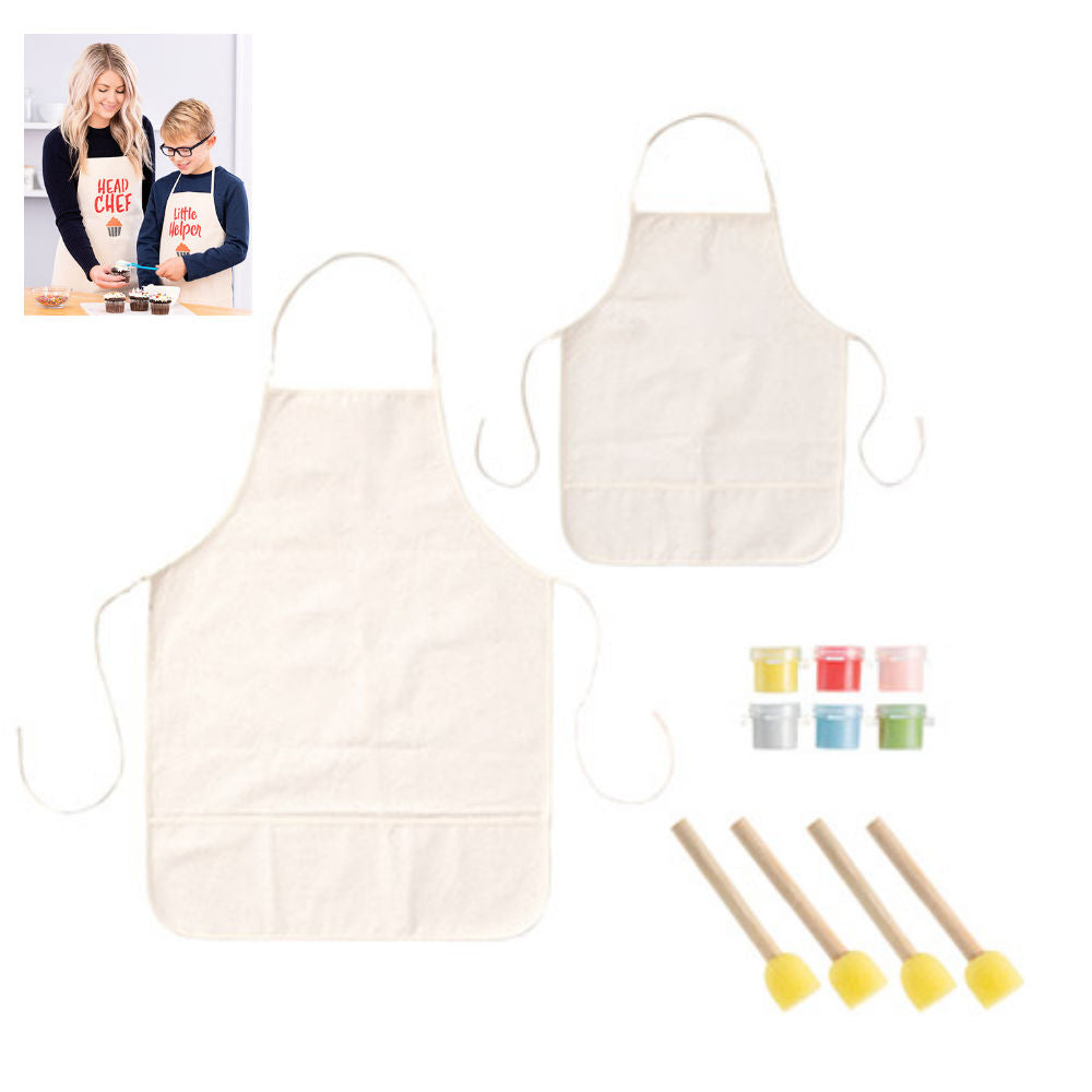 Adult & Child Canvas Apron Kit / Delantales Personalizables