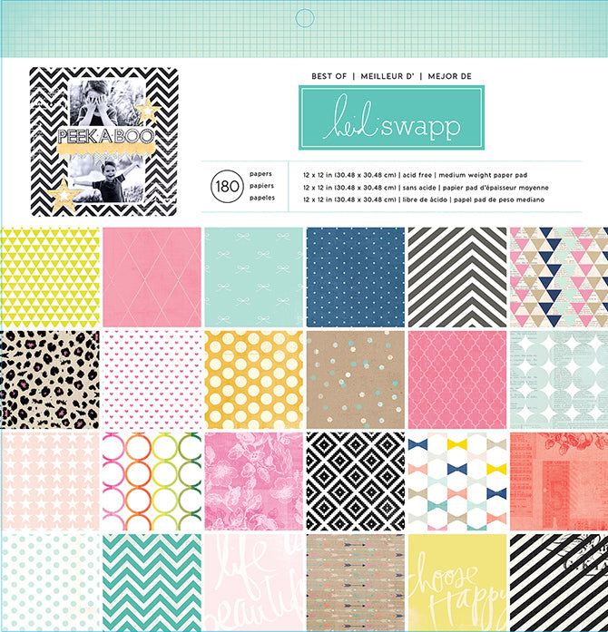 "Best Of American Craft Papers 12"" x 12"" / Block de Papel Lo Mejor American Craft 180 Hojas"