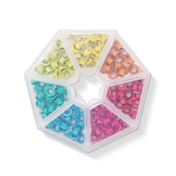 Bright Eyelets With Storage Case / Ojillos Colores Brillantes con Estuche