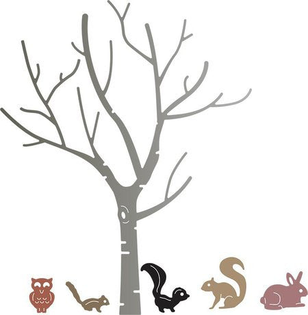 Birch Tree With Cute Critters / Suaje de Corte de Arbol y Animales - Hobbees - 1
