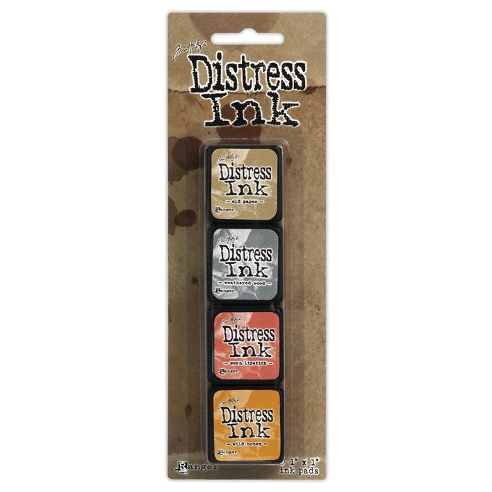 Set de 4 Mini Cojines de tinta para sellos / Distress Mini Pad Kit #7 - Hobbees - 2