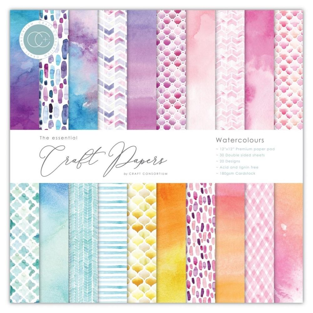 Watercolours Paper Pack / Block Papel Doble Cara Acuarelas 12""