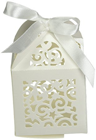 Favor Box with Pearl Ribbon Ties / Cajitas con Moño Brillante - Hobbees