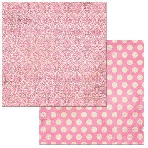 Double Dot Damask Double-Sided Cardstock / hojas de papel rosa